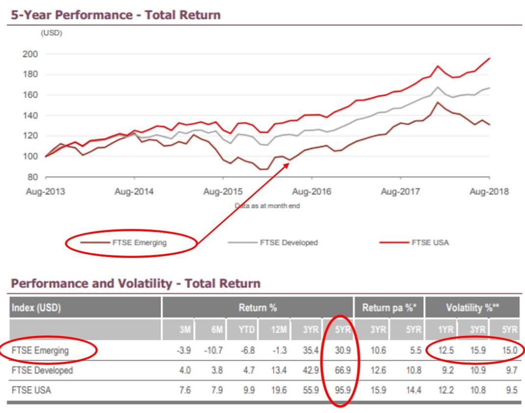 EXE-i新興国株式ファンドが連動を目指しているFTSEエマージングインデックスのパフォーマンス